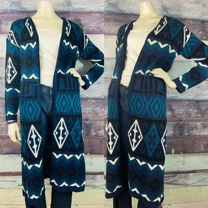 Southwestern Open front full length duster Medium